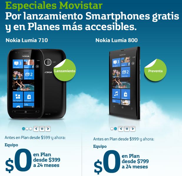 Nokia Lumia 710 y 800 con Movistar en orden previa
