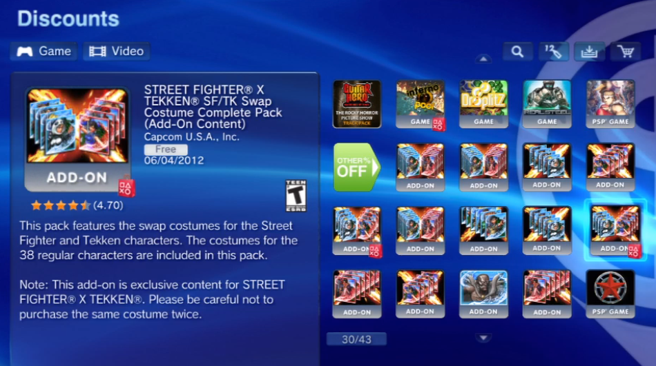 Trajes de Street Fighter X Tekken  Gratuitos en PSN