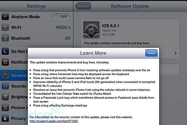 iOS 6.0.1 Liberado, Arreglando Problemas y Mejoras